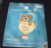 Teddy Bear Cross Stitch Kit Book Mark Personalize 3.75 X 5.25 -aa