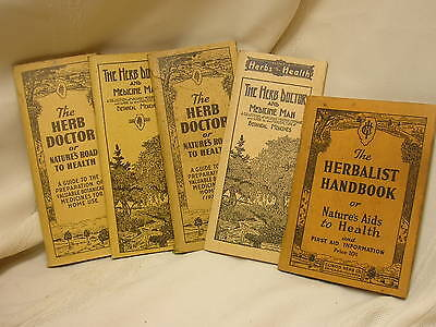 5 Vintage The Herb Doctor Booklets Illinois Herbs for Health Medicine Man c1930s