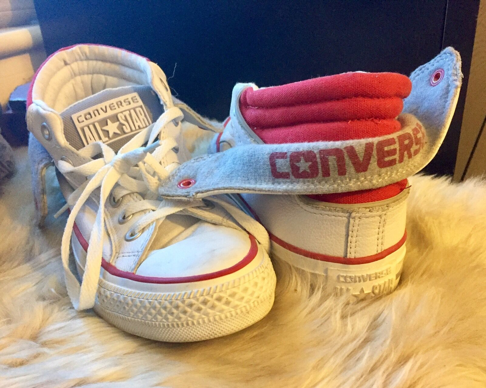Converse-All Star-ankle boot-trainers-Leather-Folding embroidered -Size 5-Rare