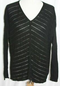 Eillen-Fisher-Women-039-s-Sweater-Black-V-Neck-Long-Sleeve-Chevron-Size-Medium