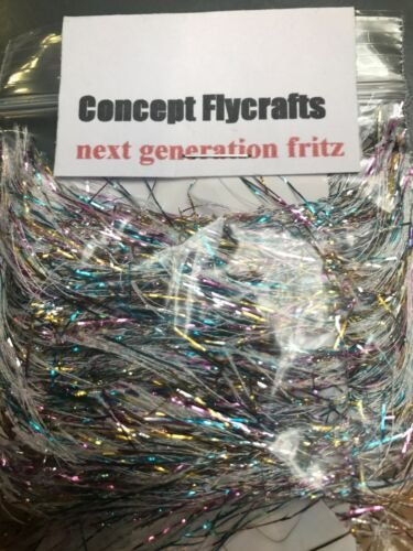 2 metre pack carded silver//multi swimming fritz fly tying pike saltwater lures