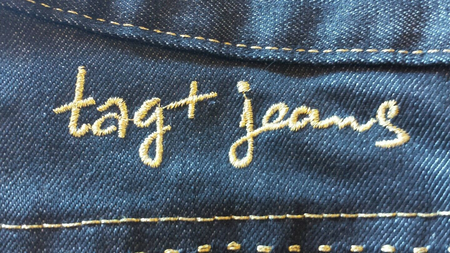 VINTAGE TAG DARK blueE 27 28 STRETCH MADE IN USA LOS ANGELES HOLLYWOOD WOMEN JEAN