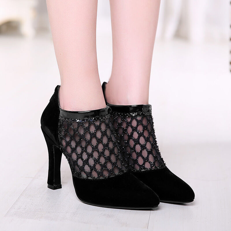 Sexy Women Sandals Stiletto Pointy toe Hollow out Zipper Club Party Dress Casual