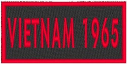 VIETNAM 1965  Embroidery Iron-On Patch  Biker Emblem Red Merrow  Border