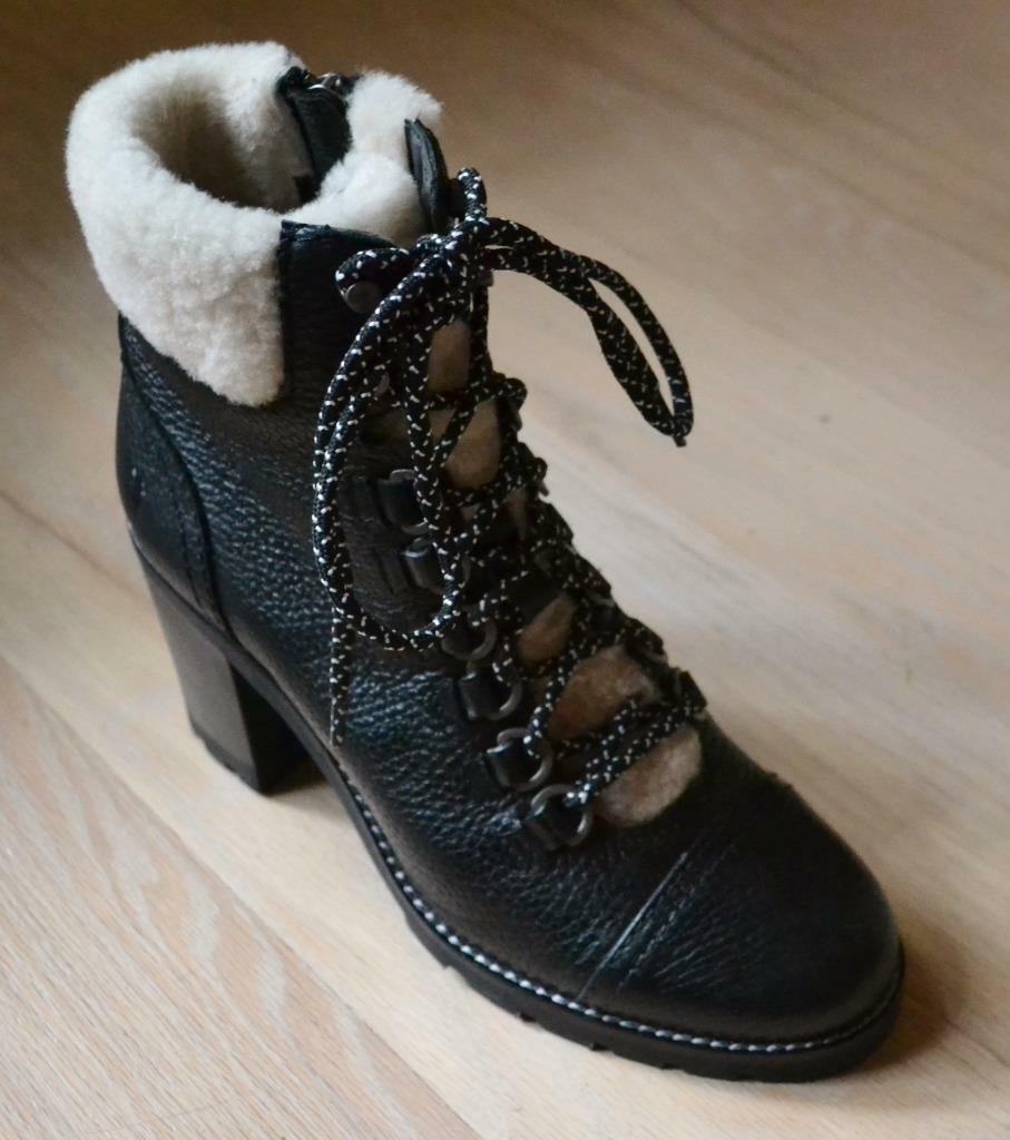Frye Addie Hiker Black Leather Boots with Shearling Size 7 NIB