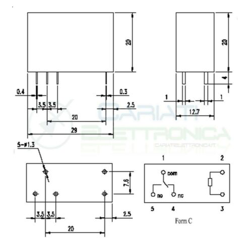 Relè Songle SMI-5VDC-SL-C con bobina da 5Vdc 10A 30Vdc 10A 250Vac SPDT