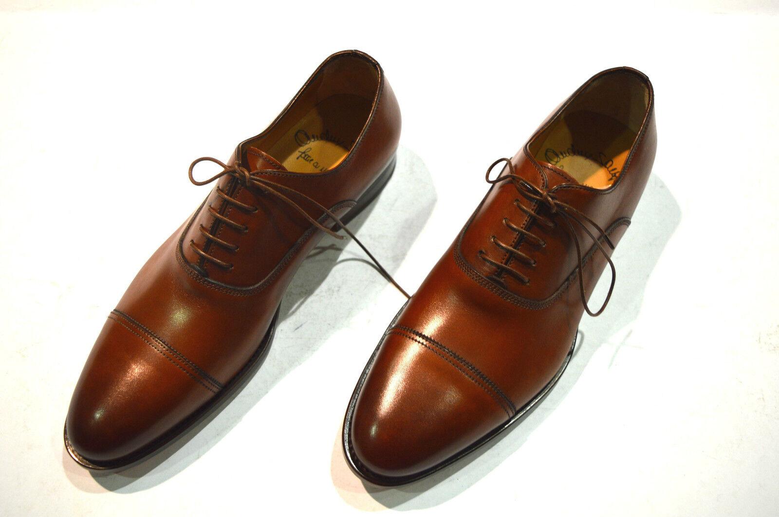 Nouvelle robe SANTONI Brun Chaussures Cuir Taille EU 42 UK 8 US 9 (7R)