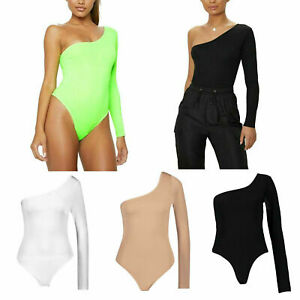 Femmes-une-epaule-nue-string-Fluo-Stretch-Crepe-Fashion-Body-Leotard-T-Shirt