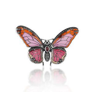 925-Sterling-Silver-Marcasite-Garnet-amp-Enamel-Butterfly-Brooch