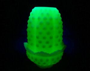 Fenton-Uranium-Custard-Satin-Cream-White-Hobnail-Fairy-Lamp-Glows