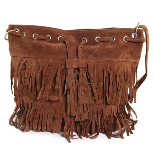 Women Girl Bucket Shoulder Bag Handbag Boho Faux Suede Fringe Tassel Cross Body