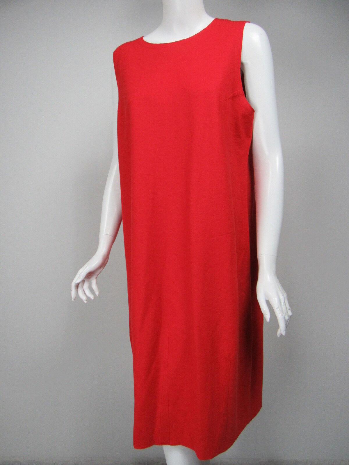 EILEEN FISHER Orange-rot Wool Fleece Knit Shift Dress sz L