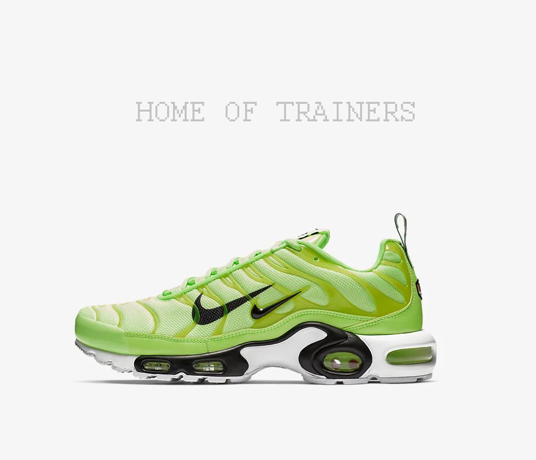 Nike Air Max Plus Premium Lime Blast Noir Blanc De Sport Hommes Toutes Tailles