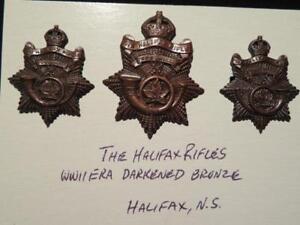 Halifax-Rifles-Canada-WWII-Era-Trio-of-Darkened-Bronze-Badges