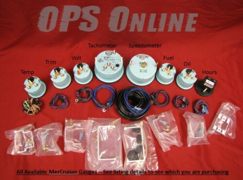 speedo temp volts 7K Tach trim oil Mercury Inboard Analog Gauge Set Black