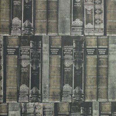 GALERIE MEMORIES 2 OLD BOOKS BOOKCASE SILVER GREY BLACK FEATURE WALLPAPER G56134