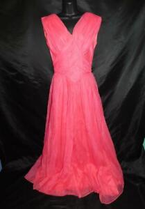 Vintage-60s-Emma-Domb-M-Pink-Draped-Formal-Gown-Maxi-Dress-Sleeveless-Party-USA