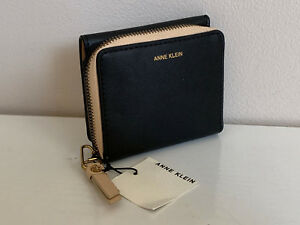 NEW-ANNE-KLEIN-AK-BLACK-NATURAL-FRENCH-BIFOLD-CLUTCH-WALLET-SALE
