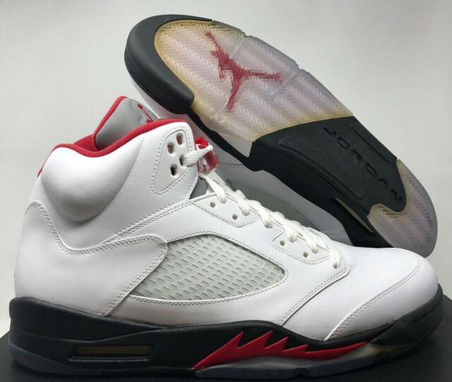 611a20e04841 Nike Air Jordan 5 V Retro Sz 14 DS White Fire Red Black 2013 ...