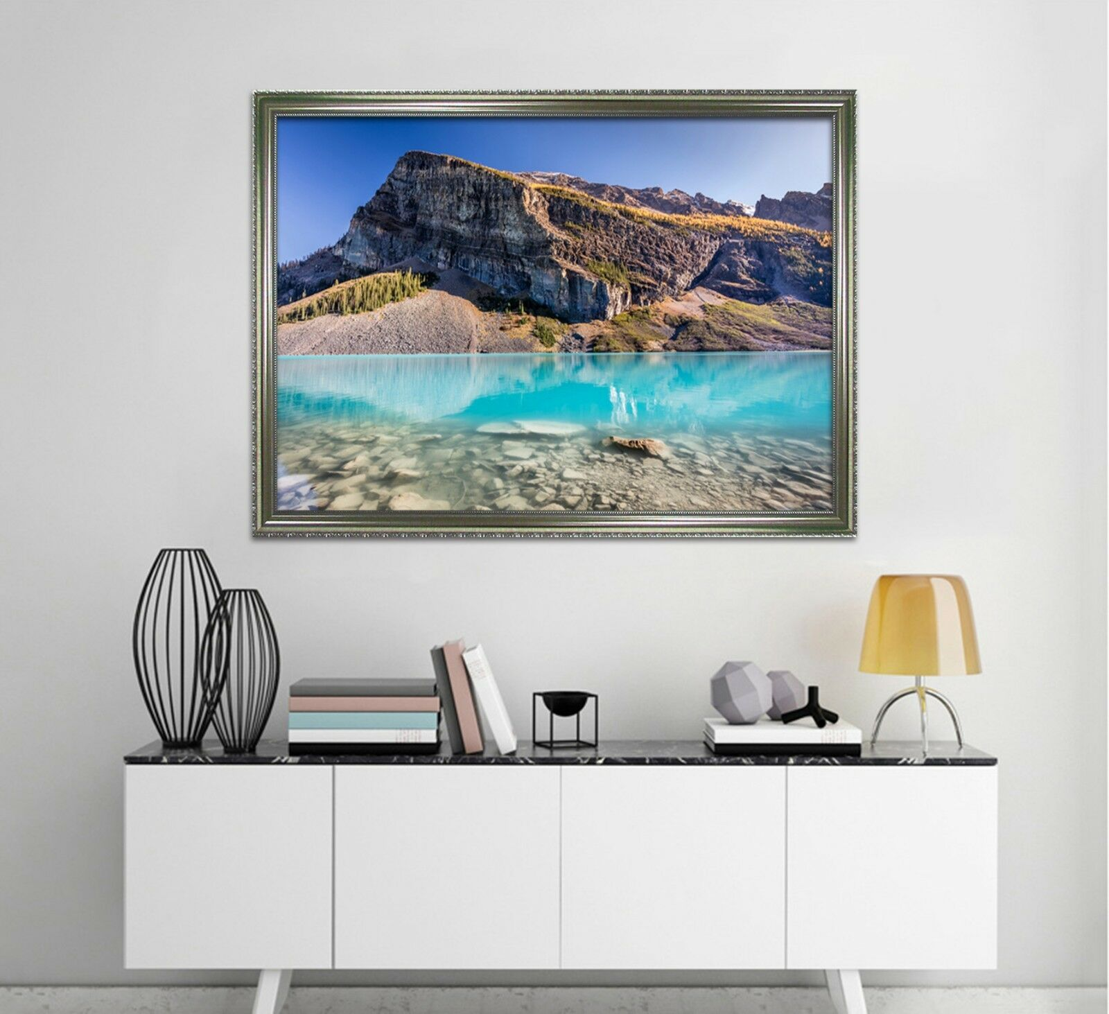 3D Blau Lake Hills 2 Framed Poster Home Decor Print Painting Art AJ WALLAPER