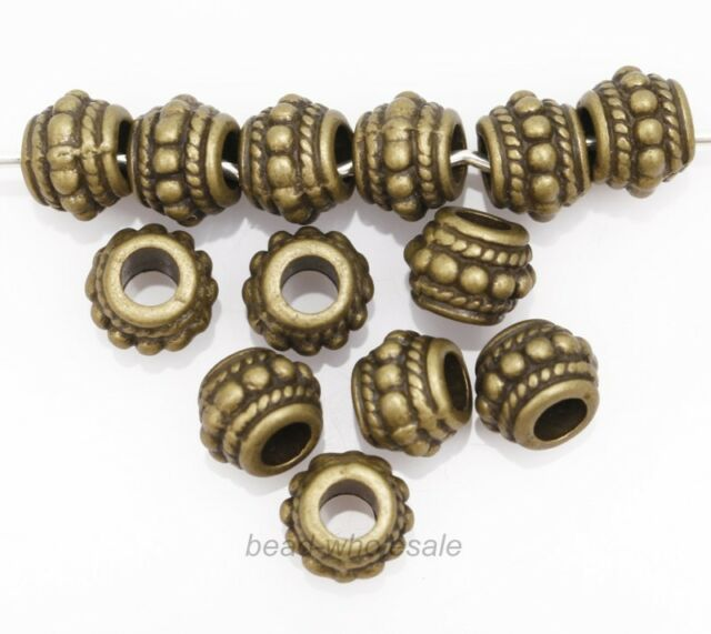 30pcs HQ-Retro Style Bronze Tone Alloy Metal Loose Spacer Beads for Craft 9x7mm