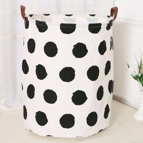 Canvas Laundry Bedroom Kids Toys Storage Bin Basket Home Collection BlackDot