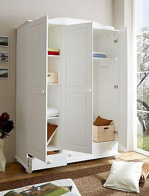 Armoire commode dressing ADAM 3 portes Pin teinté blanc
