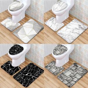 3pcs Toilet Seat Cover Washable Pad Bathroom Mat Set Soft Flamingo Print #3