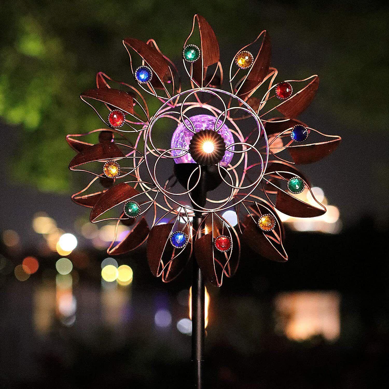 Solar Wind Spinner Multi-Color LED Lighting Sculpture Hanging Pendant Home Decor