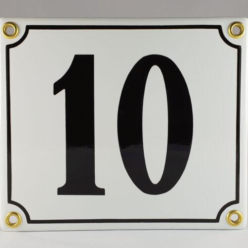 Emaille Hausnummer 10 Weiß Schwarz Hausschild Email Emailleschild Emailschild Nr