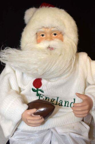 Festive Peluche assise anglais RUGBY Père Noël//Père Noël Ornement