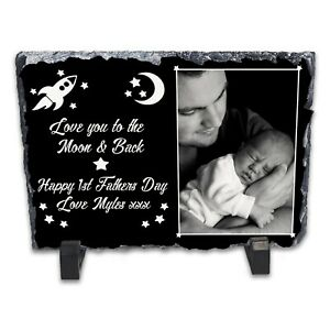 Personalised-Happy-1st-Fathers-Day-Rock-Slate-Photo-Frame-Rectangle