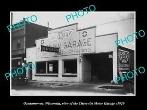 OLD-POSTCARD-SIZE-PHOTO-OF-OCONOMOWOC-WISCONSIN-CHEVROLET-MOTOR-GARAGE-c1920