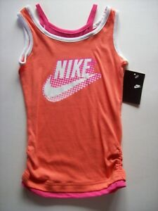 ec4ada7a7917 Nike Shirt Girls Swoosh Size 4 Cotton Orange White Raspberry New