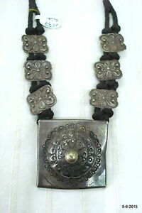 Details about ancient antique old silver necklace pendant tribal jewellery  india