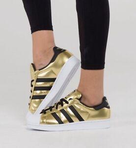 Details zu Adidas SUPERSTAR W Damen Schuhe Sneaker Kinder Mädchen Women  Shoes schwarz Gold