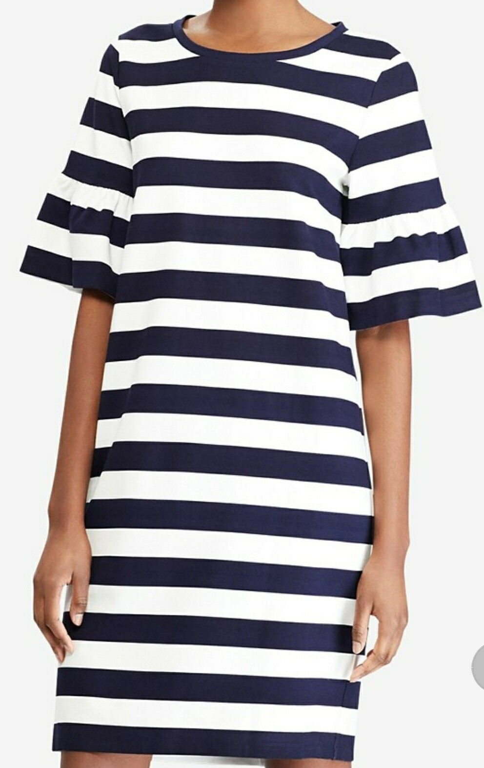 Ralph Lauren Striped Ponte-Knit Dress, Größe L