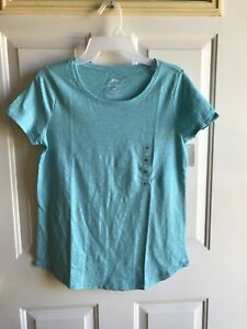 NWT women's  sonoma the everyday tee  top short sleeve shirts blue  size X-small