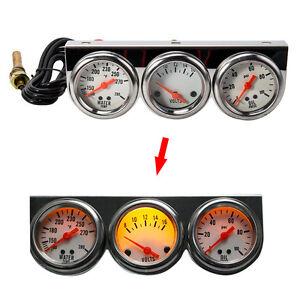 Universal-Kit-de-calibre-2-27-034-coche-triple-3in1-Agua-Temp-Voltaje-Voltios-presion-de-aceite