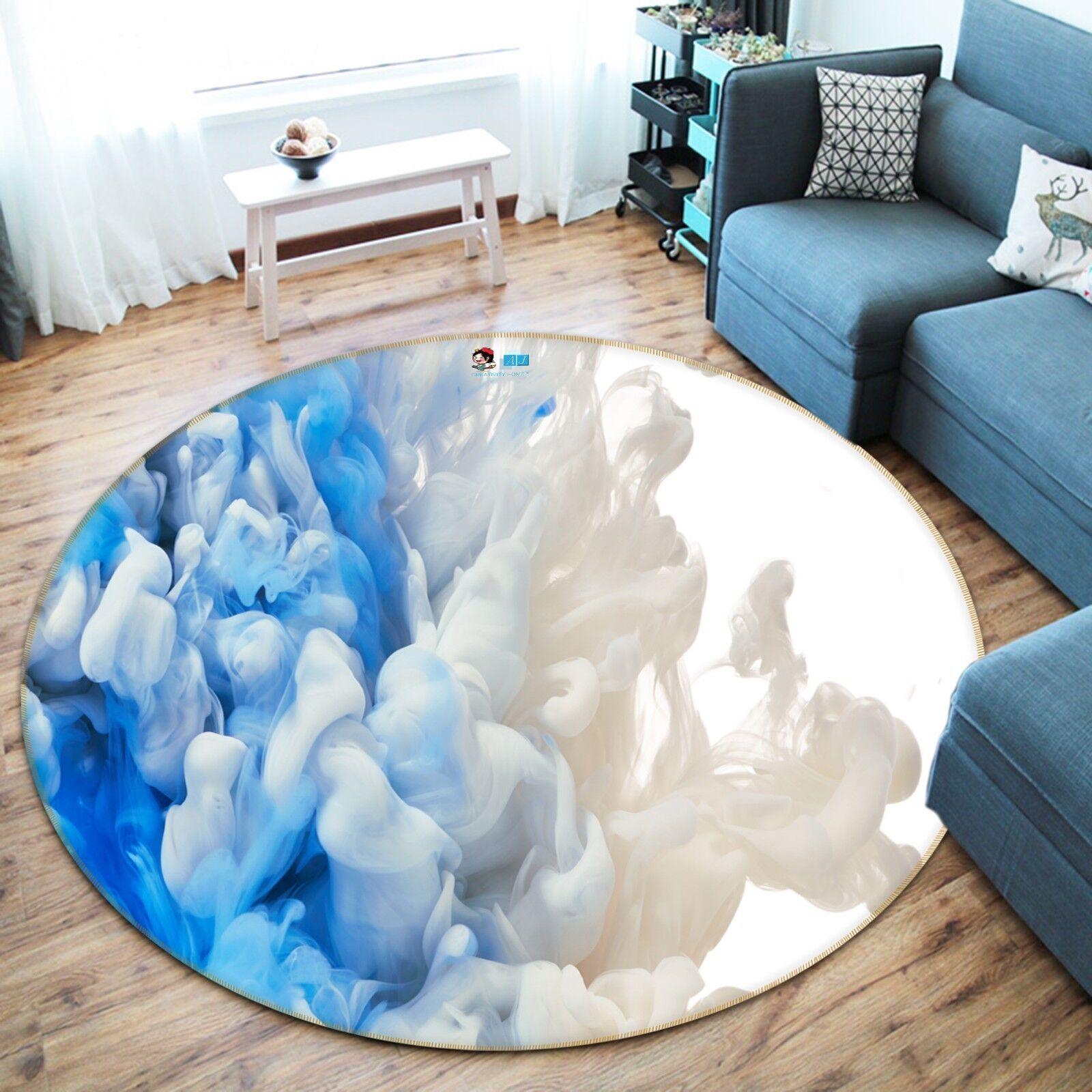 3D Weiß Blau Blau Blau Ink 4 Non Slip Rug Room Mat Round Quality Elegant Photo Carpet AU c8235d