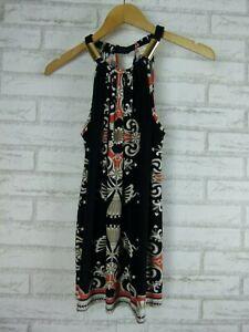 JANE-LAMERTON-Top-Blouse-Sz-10-Black-White-Orange-print