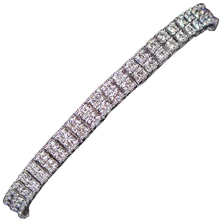 DIAMOND with 14 Karat White Gold Double Layer Round Cut Tennis Bracelet