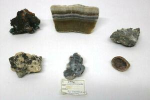 6 Mineralien Caloedonrosette Antimon usw