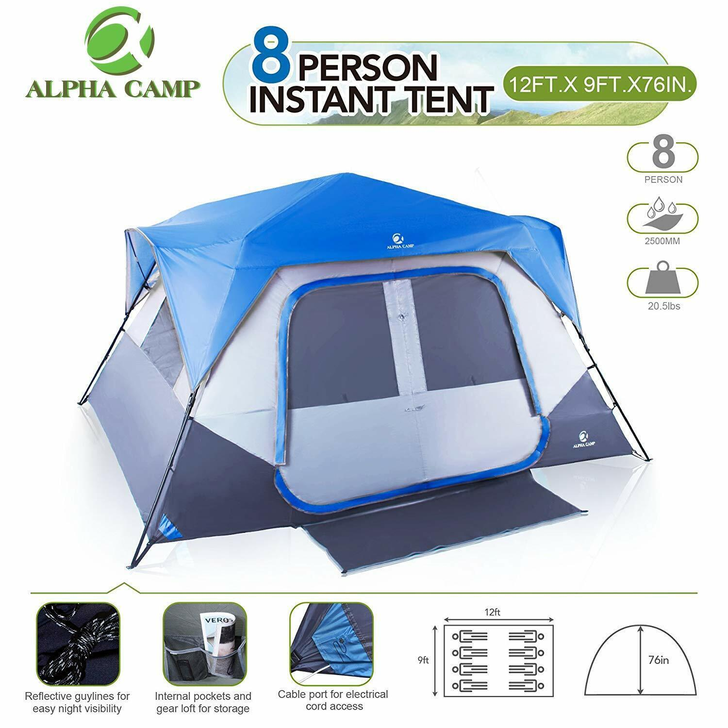 ALPHA CAMP 8 Person Dome  Tent for Camping Easy Setup Tent with Foot Mat  cheap