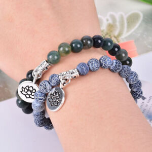 Natural-Stone-Agate-Beads-Lotus-Flower-Elastic-Bracelet-Bangle-Jewelry-Gi-ls