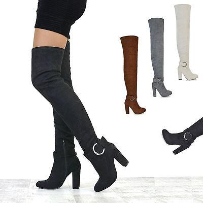Damen Winter Overknee Spitze Hoch Schenkelhoch Stiefel Niedrig Blockabsatz Schuh