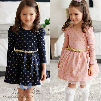 US Kid's Baby Toddler Girl's Clothes  Dress Dots Long Sleeve Princess Dress 3-8Y