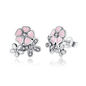 2390bd66a Image is loading Poetic-Blooms-Stud-Earrings-White-Pink-Genuine-100-