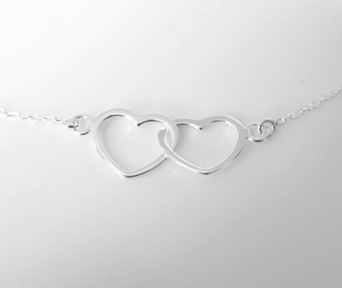 """16/"""" Sterling Silver Karma Necklace Eternity Infinity Double Heart Pendant Chain"""