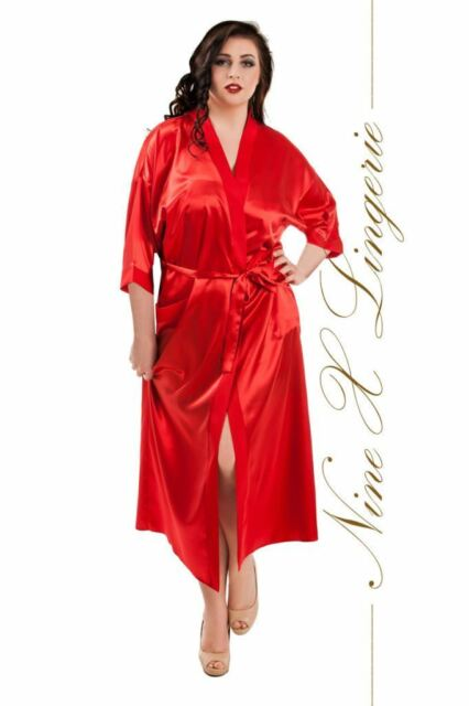 881837580a837 Nine X Satin Long Dressing Gown Kimono Plus Size 8-26 S-7xl White ...